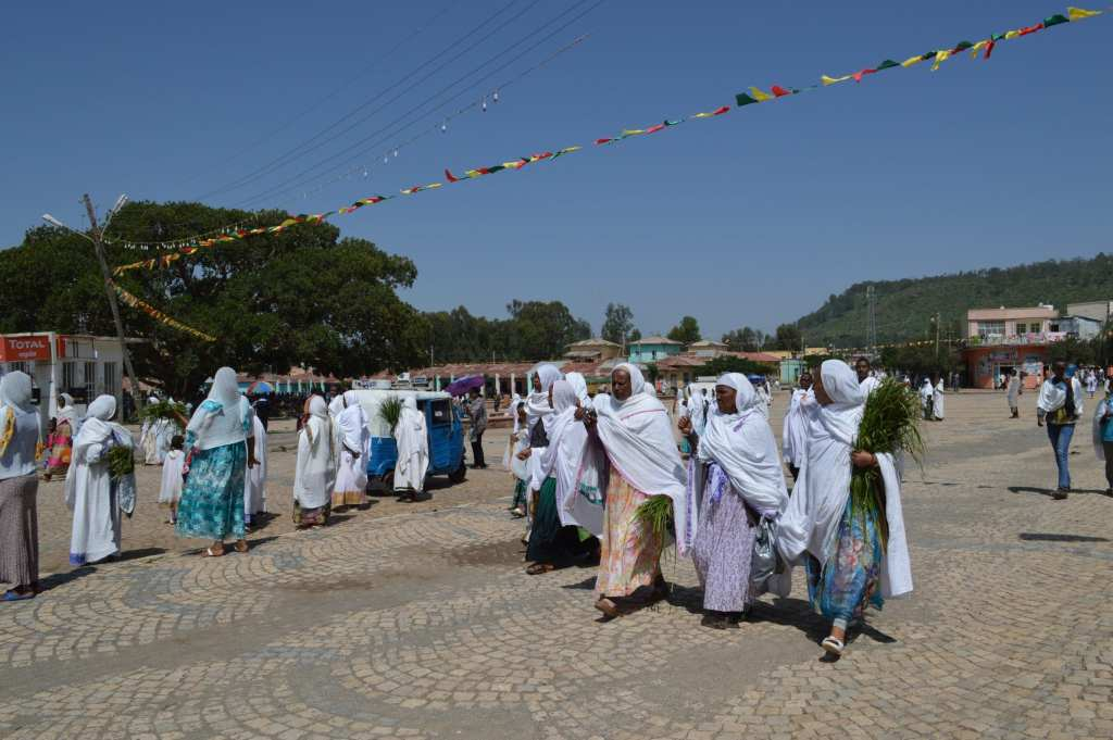 Ladies leaving after a service at the Cathedral of Maryam Tsion