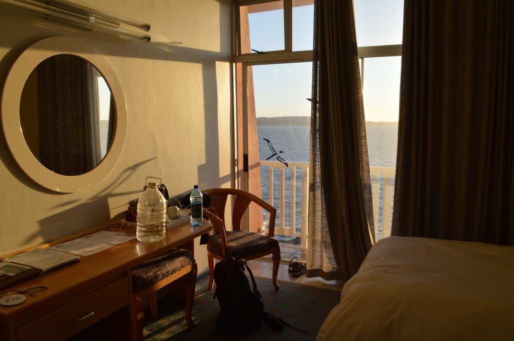 Sunset over the sea from my room at the Nest Hotel in Luderitz