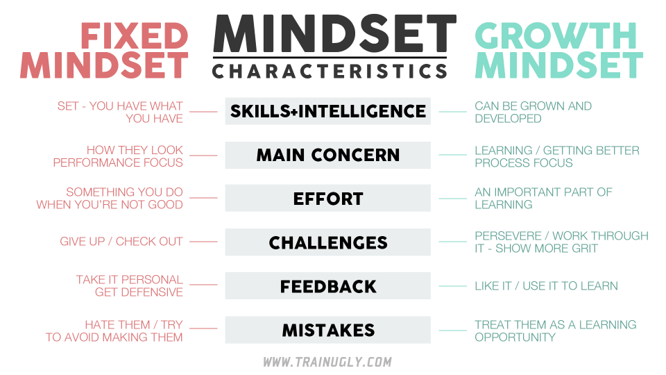 Growth Mindset Characteristics Table