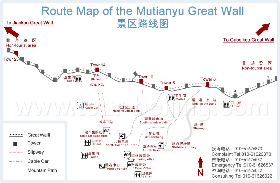 carte du site de mutianyu grande muraille de chine