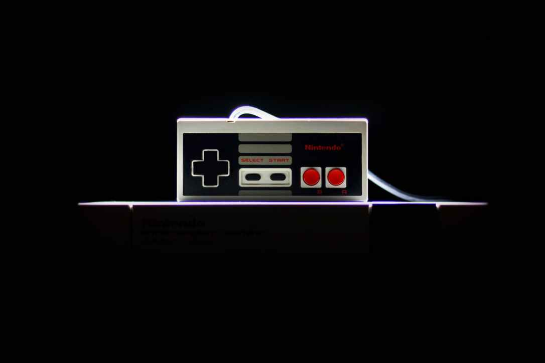 low light photo of nes controller