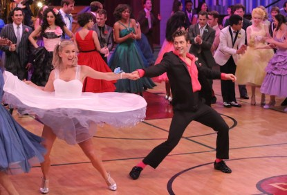 GREASE: LIVE: (L-R) Julianne Hough and Aaron Tveit rehearse for GREASE: LIVE airing LIVE Sunday, Jan. 31, 2016 (7:00-10:00 PM ET live/PT tape-delayed), on FOX. © 2016 Fox Broadcasting CO. Cr: Kevin Estrada/FOX