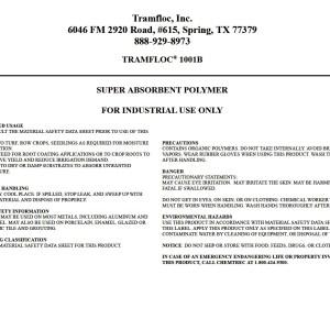 Tramfloc 1001B super absorbent polymer