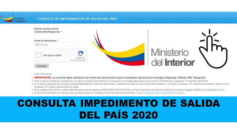 CONSULTA IMPEDIMENTO DE SALIDA DEL PAÍS 2020