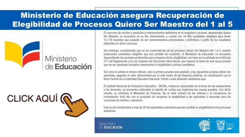 Ministerio de Educación asegura Recuperación de Elegibilidad de Procesos Quiero Ser Maestro del 1 al 5 a