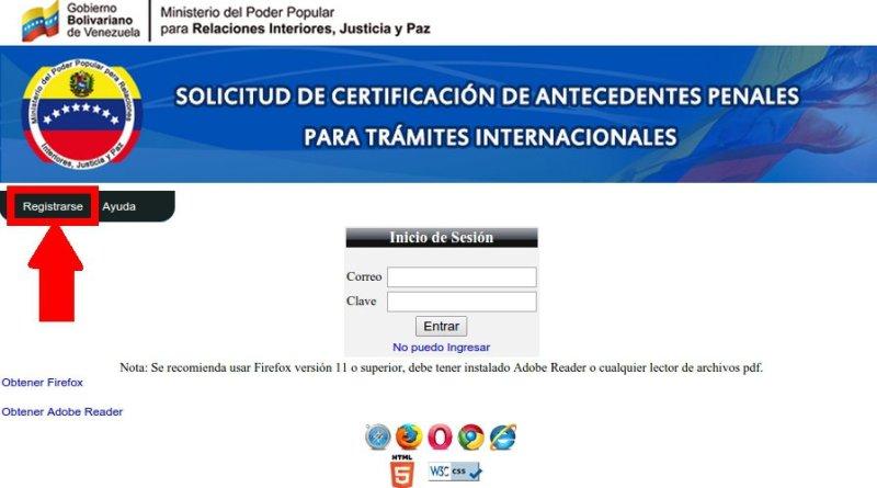 Certificado de antecedentes penales tramites p blicos for Ministerio de relaciones interiores y justicia