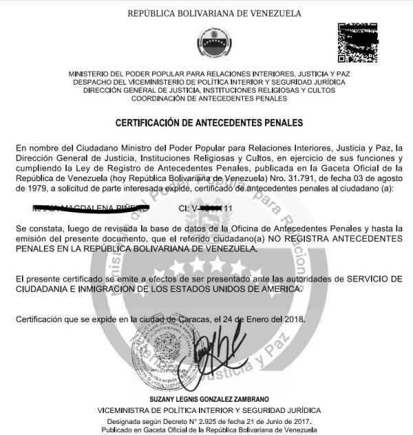 Certificado de Antecedentes Penales - Tramites Públicos Venezuela