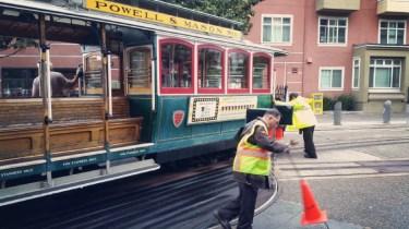 San Francisco, California, cable car, turnaround, manual, men, man, hand, power,