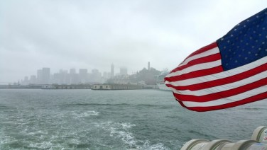 San Francisco, California, Alcatraz, american, flag, skyline, city, ferry, water,