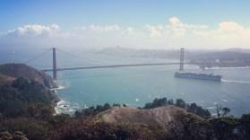 California, San Francisco, Golden Gate Bridge, Golden Gate, Sun, hill, ship, San Francisco Bay, under the bridge, view, above,