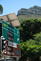 Road sign showing directions to camps bay, signal hill, lions head and table mountain, tafelberg,