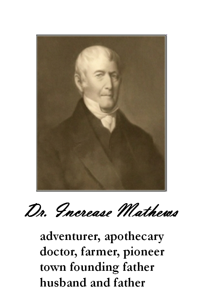 image of Dr. Increase Mathews: adventurer, apothecary, doctor, farmer, pioneer, town founding father, husband and father