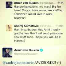 Twitter Dialogue Armin van Buuren & Andy Blueman
