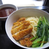 Egg Noodles with Pork Schnitzel, Boiled Vegetable and Mutli flavored Sauce