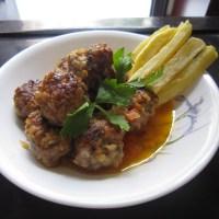 Italian Meatballs in Tomato Sauce with Potato Batons