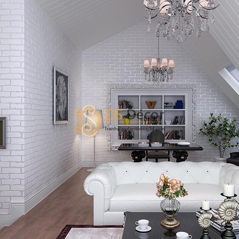 Giấy dán tường 3d họa tiết giả gạch hiện đại màu trắng
