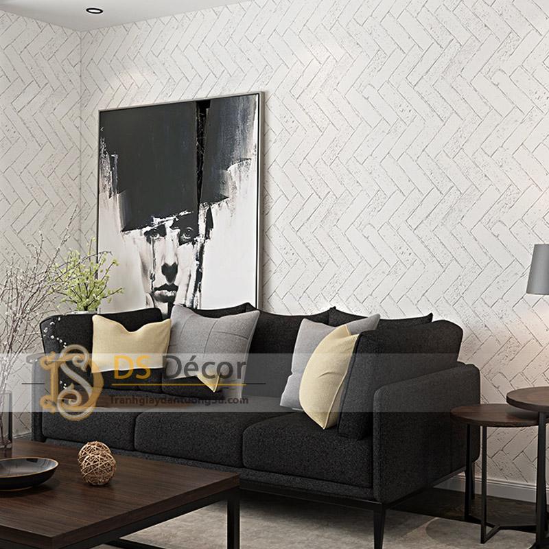 Giấy dán tường giả gạch chéo 3D061 màu trắng trang trí văn phòng