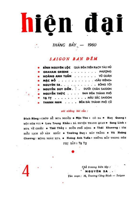 Hiện Đại số 4 tháng 7-1960
