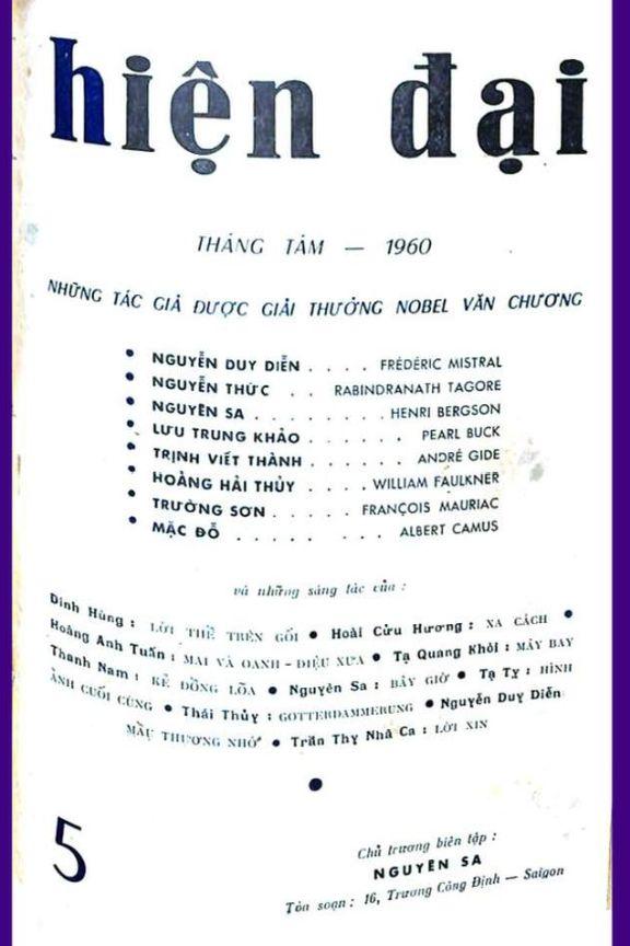 Hiện Đại số 5 tháng 8-1960