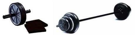 Hjulet kan utföras med ett hjul inköpt för just den övningen men det går lika bra med en skivstång