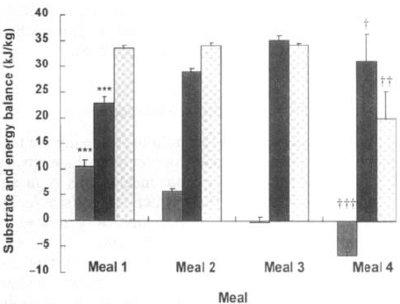 Energi och substratbalans hos deltagarna i studien efter de olika måltiderna. Grå staplar = kolhydratsbalans, Svarta staplar = fettbalans och rutiga staplar = energibalans