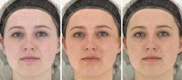 Tre olika färger på huvden beroende på kost och solvanor