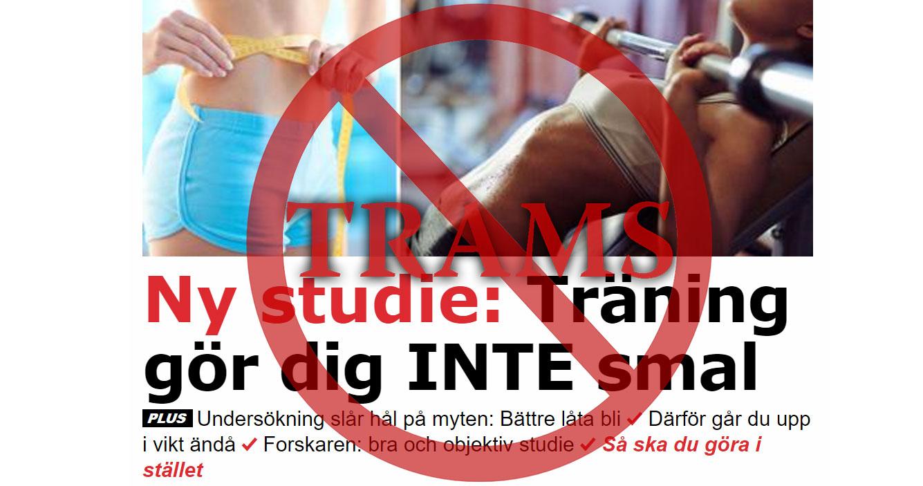 Träning gör dig inte smal enligt Aftonbladet