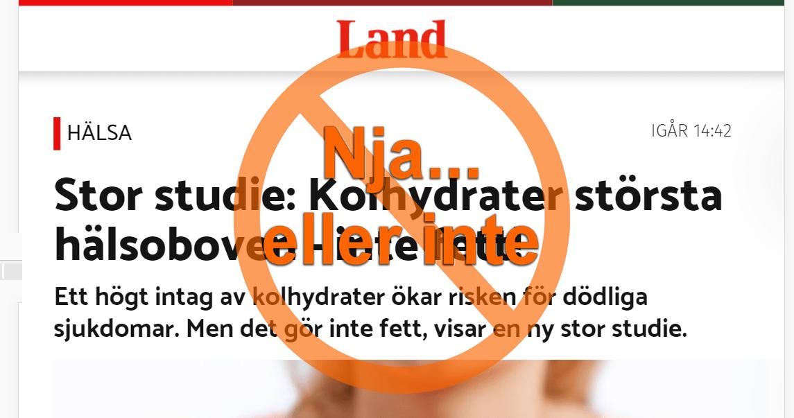 Tidningen Land om kolhydrater