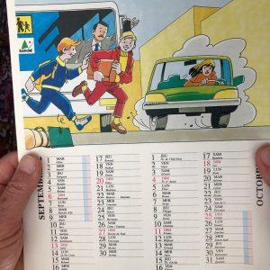 calendrier mural individuel en 6 bimestres, portant les six principales consignes de sécurité en car illustrées
