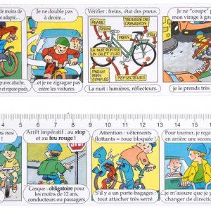 Double décimètre pvc glacé – Thème: sécurité enfant cycliste.