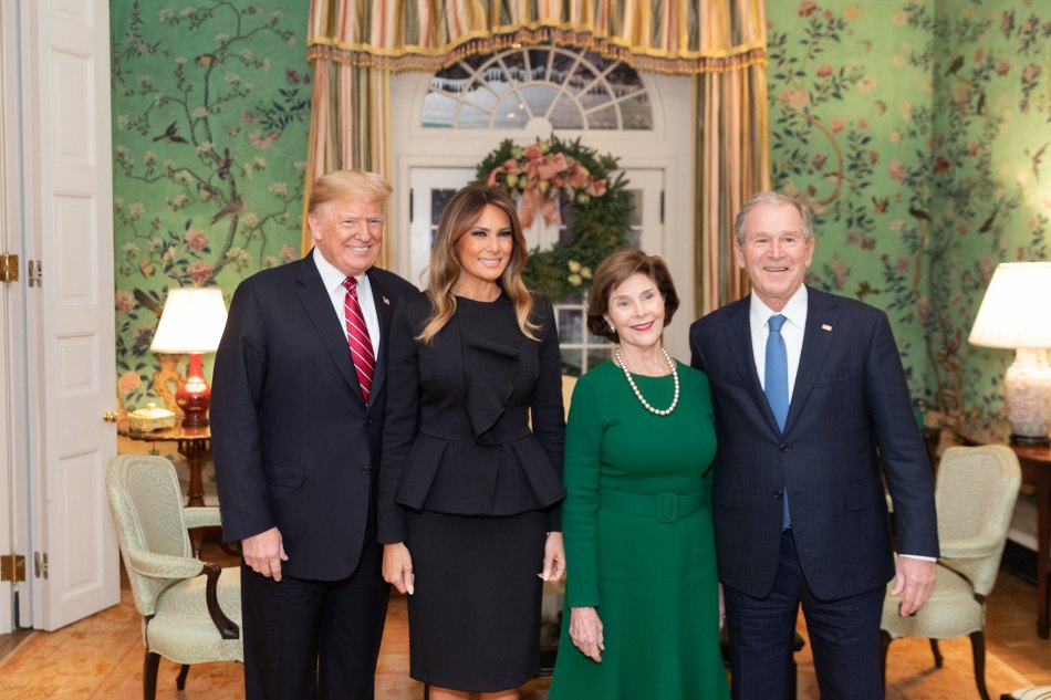 President Donald J. Trump and First Lady Melania Trump visit with former President George W. Bush and former First Lady Mrs. Laura Bush