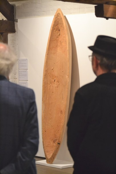 A boat of one piece of wood - made by artist Peter Schmidt.