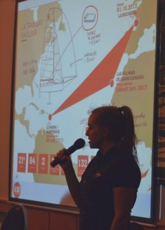 Lina Rixgens presenting her project at a Cologne sailors club.