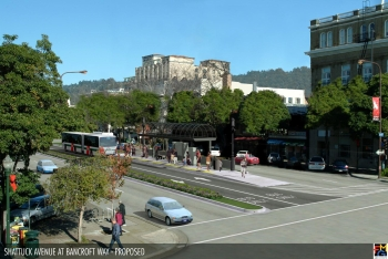 BRT Proposal at Shattuck and Bancroft (Downtown Berkeley).