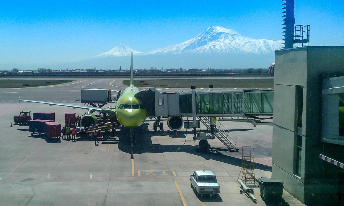 Yerevan Zvartnots International Airport, Armenia, with Mount Ararat in the background