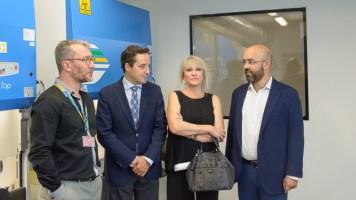 Andrés García, Juan Manuel Corchado, Julia Almeida y Javier García en el encuentro con los medios para presentar el nuevo laboratorio