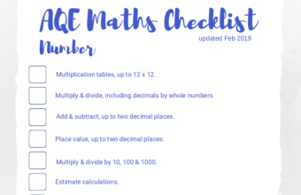 AQE maths checklist Feb 19 screenshot