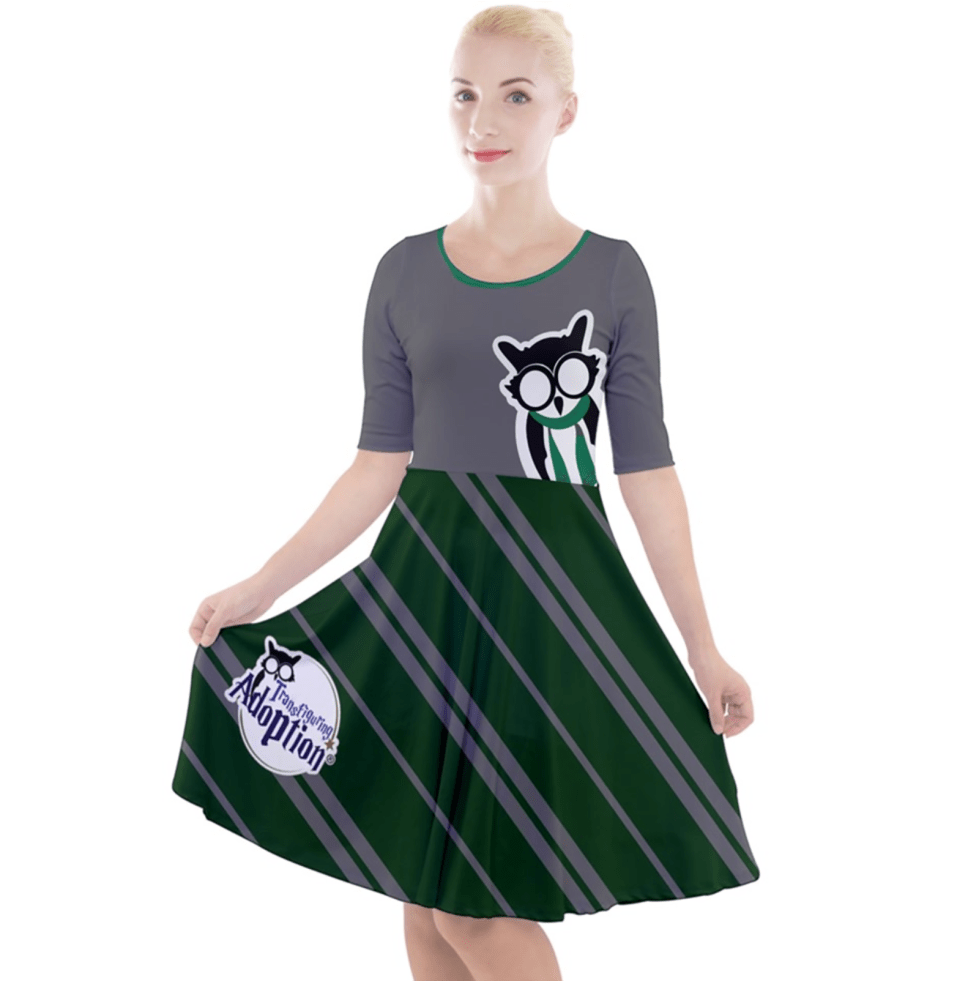 Owl (Green) Striped Dress - Quarter Sleeve A-Line Dress - Inspired by Slytherin