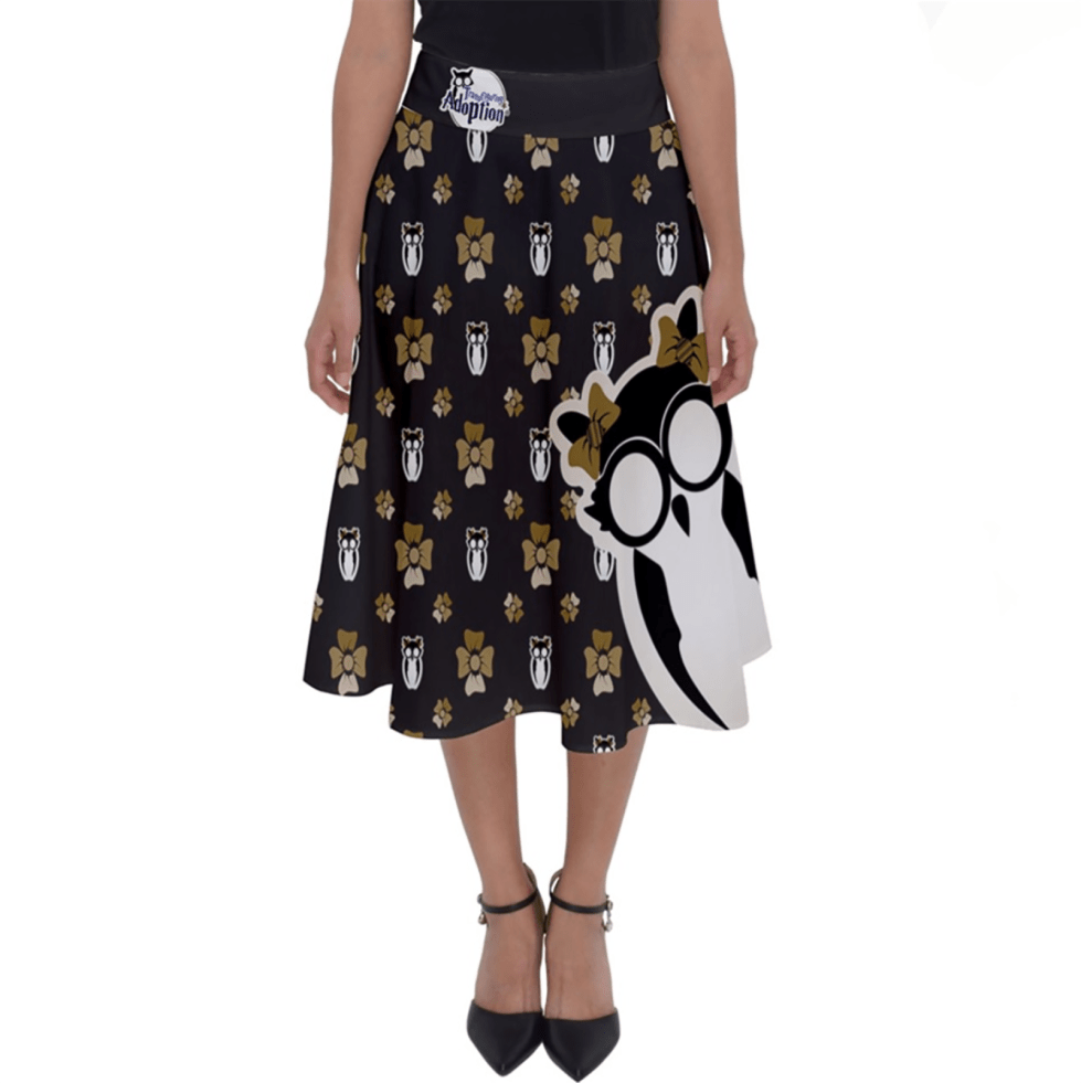 Yellow & Black Pattern Owl Perfect Length Midi Skirt - Inspired by Hufflepuff