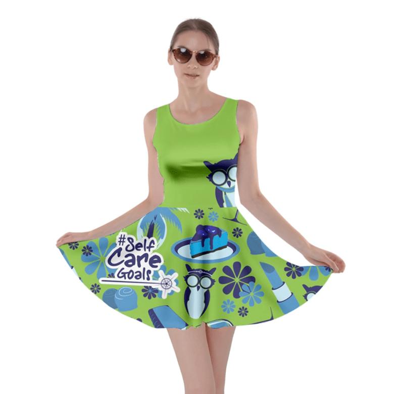 Self-Care Pattern Skater Dress (Green)