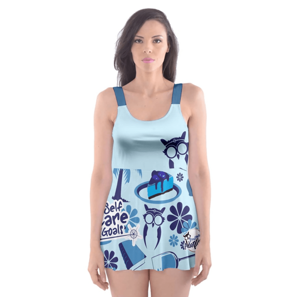 Self-Care Skater Dress Swimsuit (Blue)