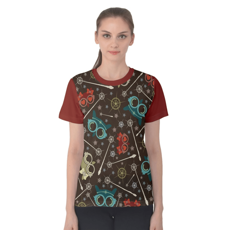 Vintage Emoji Owl Women's Cotton Tee (Patterned - Red Sleeves)