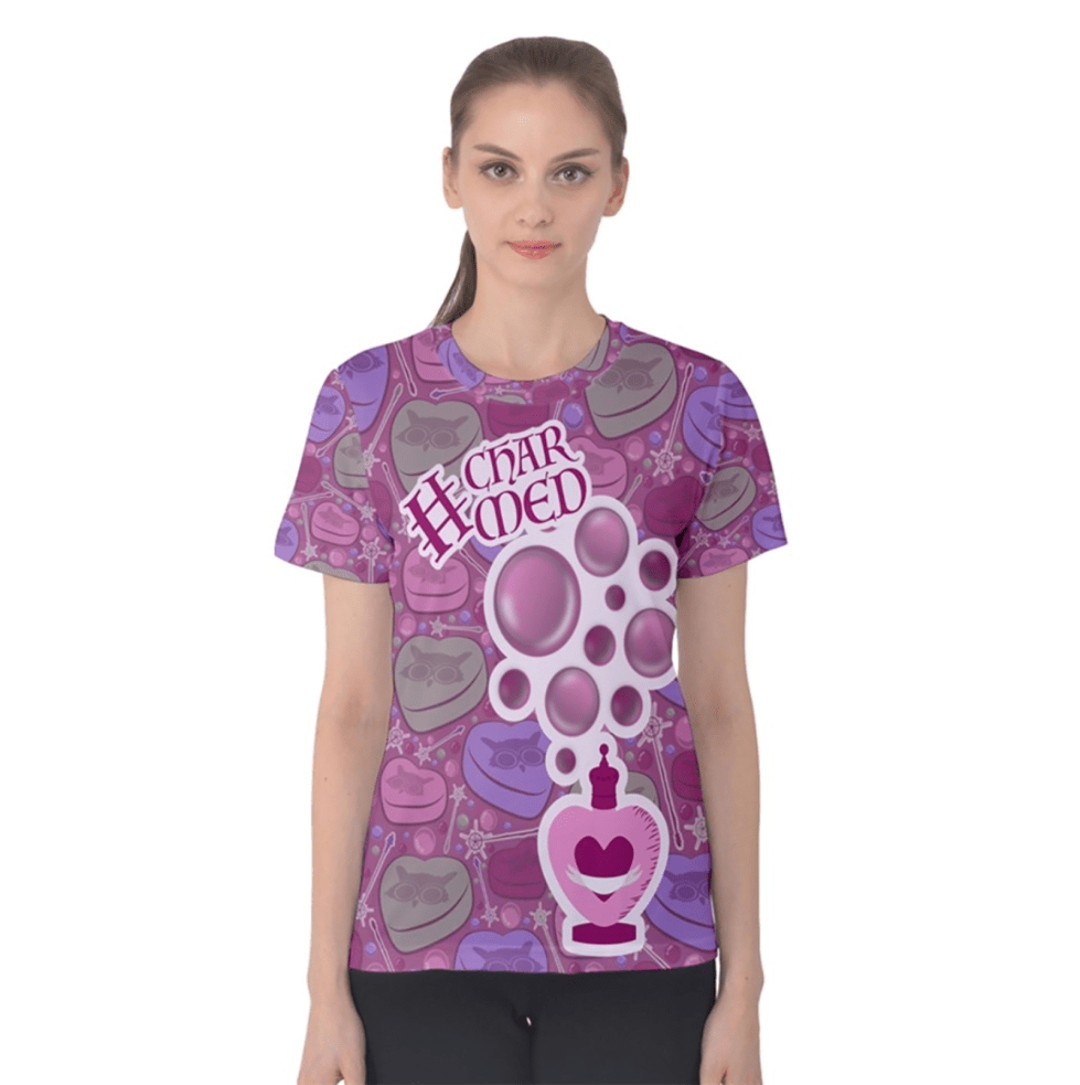 Charmed Women's Cotton Tee (Pink Patterned)