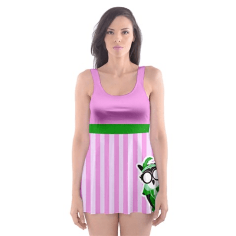 Candy Store Owl Skater Dress Swimsuit (Striped Pattern)