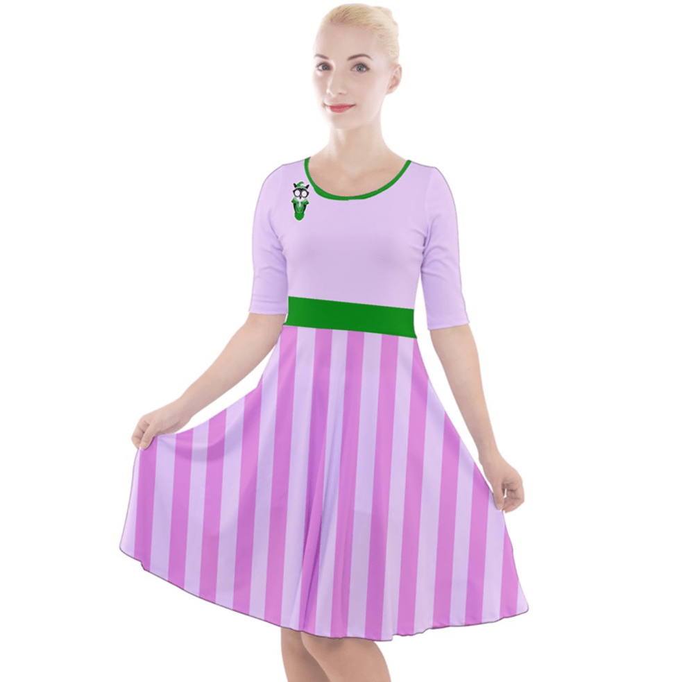 Candy Store Owl (Striped Pattern) Quarter Sleeve A-Line Dress
