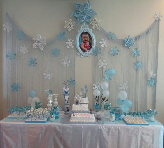festa frozen decoracao clean