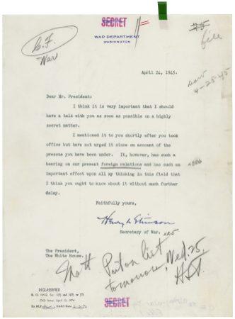 Truman stimson bomb letter ARC 4529713