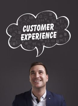 Business Technology Internet and marketing. Young businessman thinking about: customer experience