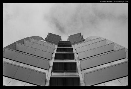 Boat-funnel like balconies, W-Hotel, Barceloneta, Barcelona. Leica M7, Zeiss ZM 2/35, Kodak Ektar 100.