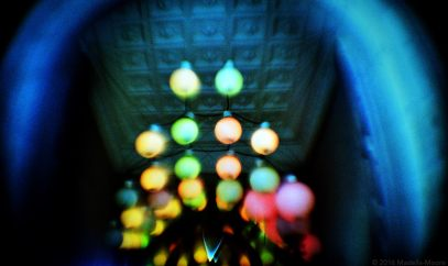 Colourful ceiling lights